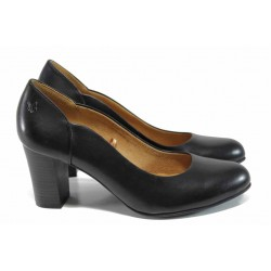 Дамски обувки от естествена кожа на ток Caprice 9-22404-29 черен кожа | Немски обувки на ток | MES.BG