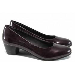 Дамски обувки на ток Jana 8-22360-29Н бордо лак | Немски обувки на среден ток | MES.BG