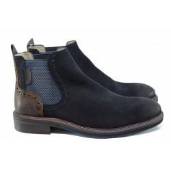 Мъжки боти от естествен набук S.Oliver 5-15301-29 син | Немски мъжки обувки | MES.BG