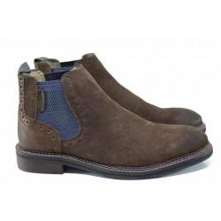 Мъжки боти от естествен набук S.Oliver 5-15301-29 кафяв | Немски мъжки обувки | MES.BG