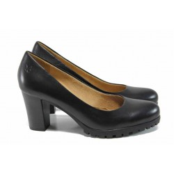 Дамски обувки от естествена кожа Caprice 9-22406-29 черен | Немски обувки на висок ток | MES.BG