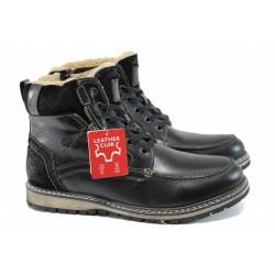 Мъжки боти от естествена кожа и топъл хастар S.Oliver 5-16214-29 черен | Немски мъжки обувки | MES.BG