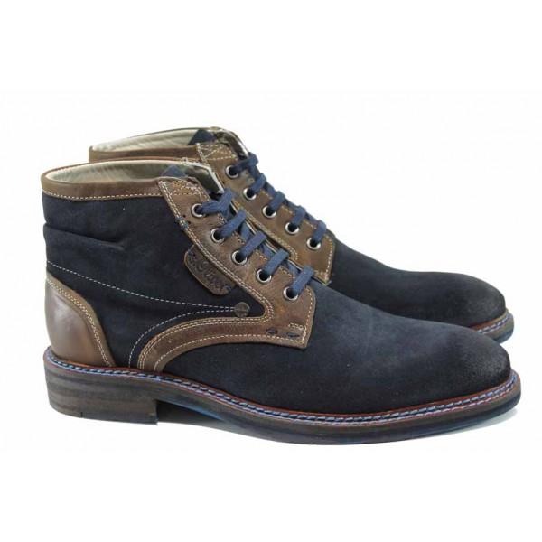 Мъжки боти от естествен велур S.Oliver 5-15104-29 син | Немски мъжки обувки | MES.BG