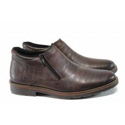 Мъжки боти от естествена кожа с топъл хастар Rieker 15382-25 кафяв ANTISTRESS | Мъжки немски обувки | MES.BG