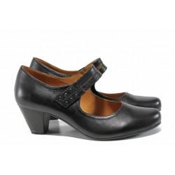 Дамски обувки от естествена кожа Caprice 9-24405-29 черен ANTISHOKK | Немски обувки на среден ток | MES.BG
