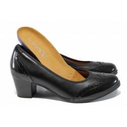 Дамски обувки от естествена кожа Caprice 9-22414-29H черен | Немски обувки на среден ток | MES.BG