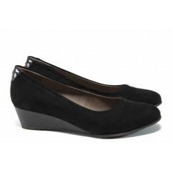 Анатомични дамски велурени обувки Jana 8-22366-20 черен | Немски обувки на платформа | MES.BG