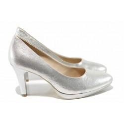 Дамски елегантни обувки от естествена кожа Caprice 9-22414-20 сребро | Немски обувки на ток | MES.BG