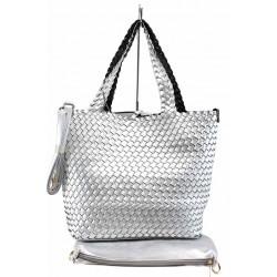 Дамска двулицева чанта с органайзер ФР 613 сребро-черен | Дамска чанта | MES.BG