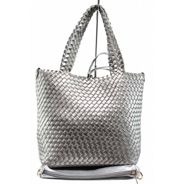 Дамска двулицева чанта с органайзер ФР 613 сребро | Дамска чанта | MES.BG