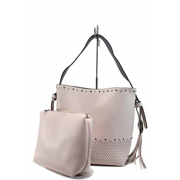 Модерна дамска чанта с органайзер ФР 1024 розов-лилав | Дамска чанта | MES.BG