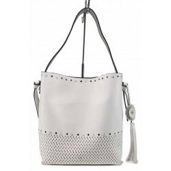 Модерна дамска чанта с органайзер ФР 1024 бял-сребро | Дамска чанта | MES.BG