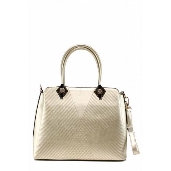 Стилна дамска чанта с три прегради ФР 8096 бежов | Дамска чанта | MES.BG