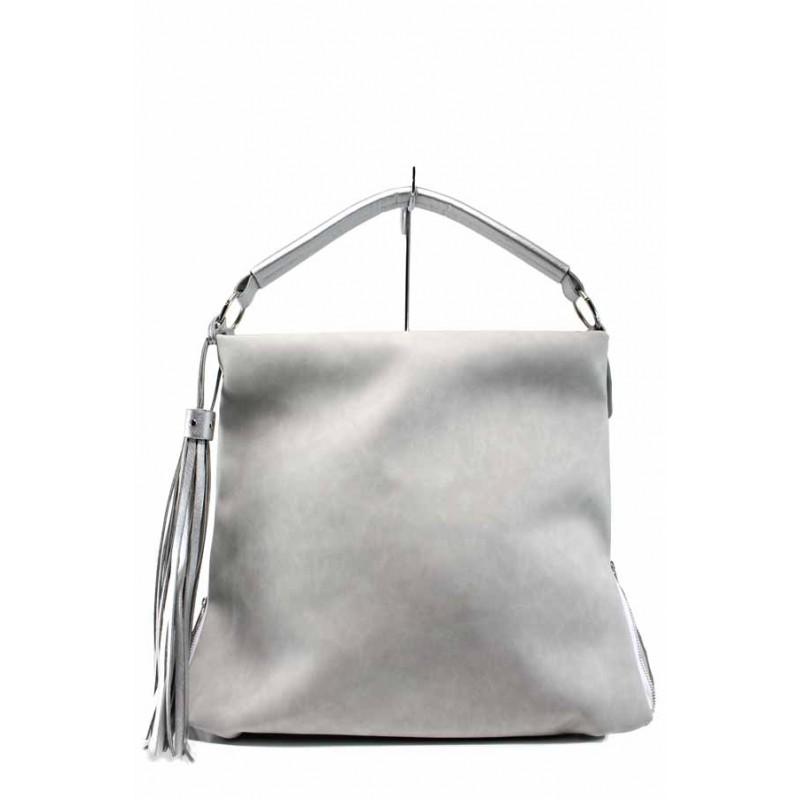 4e7e6104320 Българска дамска чанта СБ 1205 сив-сребро | Дамска чанта | MES.BG