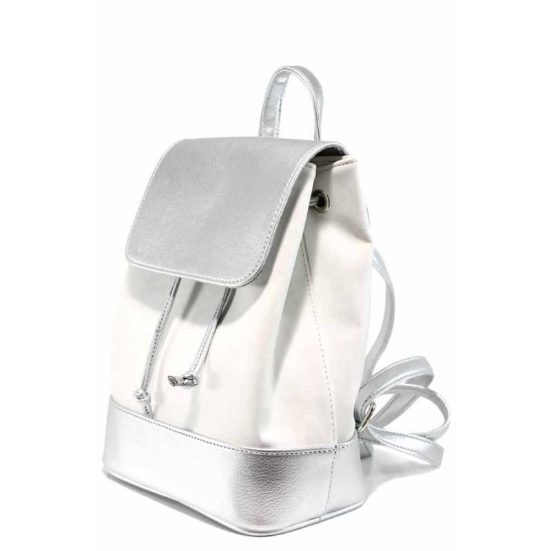dbc6354fe41 Българска дамска раница СБ 1220 бял-сребро | Дамска чанта | MES.BG