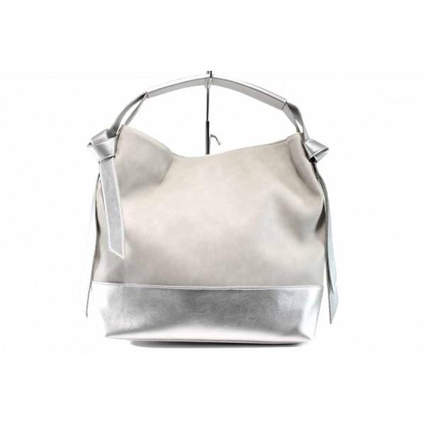 Българска дамска чанта СБ 1203 сив-сребро   Дамска чанта   MES.BG