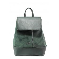 Българска дамска чанта-раница СБ 1220 зелен мейс | Дамска чанта | MES.BG