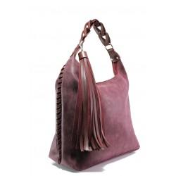 Българска дамска чанта СБ 1244 бордо мейс | Дамска чанта | MES.BG