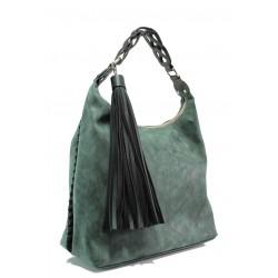 Българска дамска чанта СБ 1244 зелен мейс | Дамска чанта | MES.BG