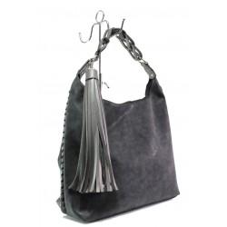 Българска дамска чанта СБ 1244 черен мейс | Дамска чанта | MES.BG