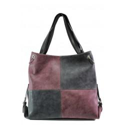 Българска дамска чанта СБ 1247 черен-бордо | Дамска чанта | MES.BG