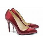 Дамски елегантни обувки МИ 5596 бордо лак | Дамски обувки на висок ток | MES.BG