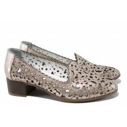 Анатомични дамски обувки от естествена кожа МИ 770 бежов | Дамски обувки на среден ток | MES.BG
