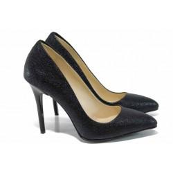 Дамски елегантни обувки МИ 5596 черен к.точки | Дамски обувки на висок ток | MES.BG