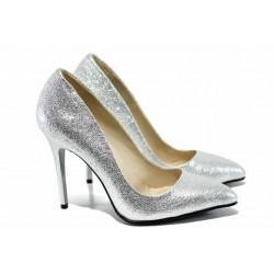 Дамски елегантни обувки МИ 5596 сребро | Дамски обувки на висок ток | MES.BG