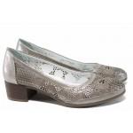 Анатомични дамски обувки от естествена кожа МИ 800 т.бежов | Дамски обувки на среден ток | MES.BG