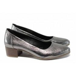 Анатомични дамски обувки от естествена кожа МИ 5800 сребро | Дамски обувки на среден ток | MES.BG