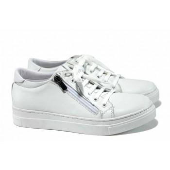 Комфортни дамски спортни обувки от естествена кожа МИ 07 бял | Равни дамски обувки | MES.BG
