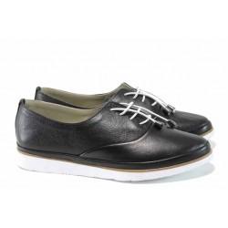 Анатомични дамски обувки от естествена кожа МИ 265 черен | Равни дамски обувки | MES.BG