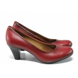 Комфортни дамски обувки от естествена кожа МИ 6074 червен | Дамски обувки на среден ток | MES.BG