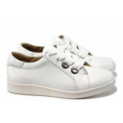 Дамски спортни обувки от естествена кожа КВ 10 бял | Равни дамски обувки | MES.BG