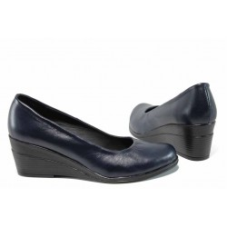 Анатомични български дамски обувки от естествена кожа НЛ 165-7192 син | Дамски обувки на платформа | MES.BG