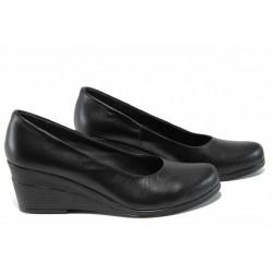 Анатомични български дамски обувки от естествена кожа НЛ 165-7192 черен | Дамски обувки на платформа | MES.BG