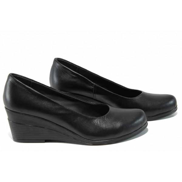 Анатомични български дамски обувки от естествена кожа НЛ 165-7192 черен   Дамски обувки на платформа   MES.BG