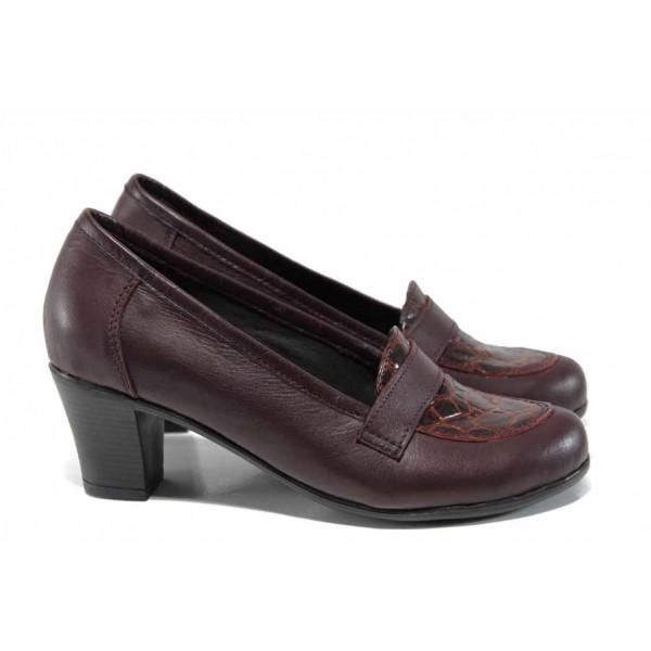 Анатомични български дамски обувки от естествена кожа НЛ 282-1705 бордо кроко | Дамски обувки на среден ток | MES.BG