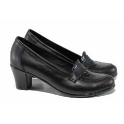 Анатомични български дамски обувки от естествена кожа НЛ 282-1705 черен лак | Дамски обувки на среден ток | MES.BG