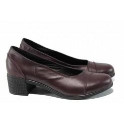 Анатомични български дамски обувки от естествена кожа НЛ 140-7251 бордо | Дамски обувки на среден ток | MES.BG