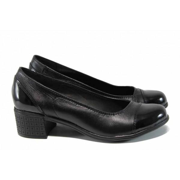 Анатомични български дамски обувки от естествена кожа НЛ 140-7251 черен лак | Дамски обувки на среден ток | MES.BG