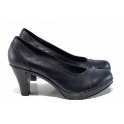 Анатомични български дамски обувки от естествена кожа НЛ 140-6843 син | Дамски обувки на висок ток | MES.BG