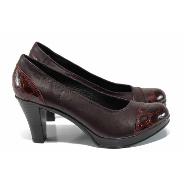 Анатомични български дамски обувки от естествена кожа НЛ 140-6843 бордо кроко | Дамски обувки на висок ток | MES.BG