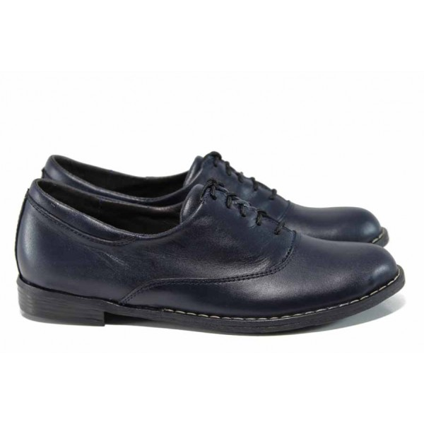 Анатомични български обувки от естествена кожа НЛ 163-GEDO т.син | Равни дамски обувки | MES.BG