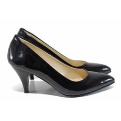 Дамски елегантни обувки МИ 117 черен лак | Дамски обувки на висок ток | MES.BG