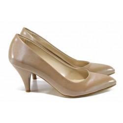 Дамски елегантни обувки МИ 117 бежов лак | Дамски обувки на висок ток | MES.BG