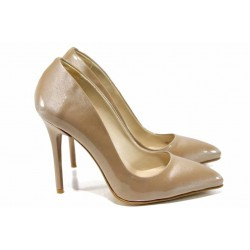 Дамски елегантни обувки МИ 5596 бежов лак | Дамски обувки на висок ток | MES.BG
