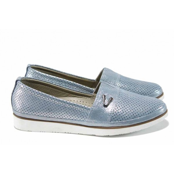 Анатомични дамски обувки от естествена кожа МИ 269 син | Равни дамски обувки | MES.BG