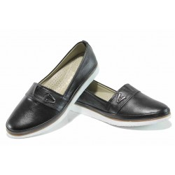 Анатомични дамски обувки от естествена кожа МИ 268 черен | Равни дамски обувки | MES.BG